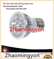 beyaz led ampul e14 toptan satış-1 adet Süper Parlak 9 W 12 W 15 W E27 GU10 E14 GU5.3 LED Ampuller Işık 110 V 220 V Dim Led LAMBA Sıcak / Doğal / Soğuk Beyaz E27 LED ışık