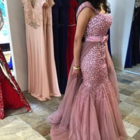 Wholesale Detachable Sleeves For Wedding - 2016 Prom Dresses Party Evening Gowns with Rhinestones Detachable Train Vintage Mermaid Evening Dresses for Wedding Events