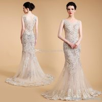 Wholesale Crystal Trumpet Dress Actual Image - actual photos Arab Dubai mermaid evening dresses 2018 heavily embroidery crystals beaded scoop neckline sweep train evening gowns