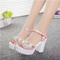 Wholesale Shoes Thick Crust Fish Head - 2016 new female high-heeled sandals thick crust fish head diamond shoes with the word wild rough with women shoes