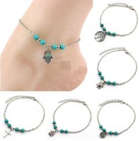 ingrosso spiaggia turchese-6 Stili Bohemian Turquoise Anklets Women Beach Piede Catene Cross Tree Tartarughe Conch Fatima's Hand Anklet For Ladies Fashion Jewelry