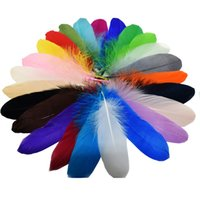 Wholesale Natural Dyed Feather - 360pcs lot 15-20cm 5.9-7.9inches Multi-Color Natural Dyed Goose Feather DIY Hair Accessories Wedding Party Supplies Clothing Decoration IF56