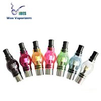 Wholesale Colored Atomizers - Colored Glass Globe Wax Atomizer Pyrex Glass Dome Wax Herb Vaporizer Tank Pen - Fits Dual Quartz Coil Ceramic Donut Wax Coils