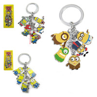 Wholesale Despicable Key - Anime Cartoon Despicable Me Minions Small doll Metal Figures Key Chain Pendants with Key Ring lobster clasp