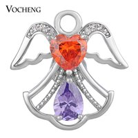Wholesale Wings Charms Wholesale - NOOSA CZ Stone Snap Charms Copper Material 4 Colors Wings 18mm Luxury Jewelry VOCHENG Vn-1389