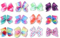 Wholesale Rhinestone Bow Center - 10 Pcs Lot 7 Inch Jojo Girls Gradient Rainbow Ribbon Hair Bow With Clip Bowknot Center With Rhinestone Barrettes Beautiful HuiLin AW46