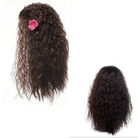 Wholesale Adult Hair Wave - Moana Cosplay Wigs With Flower Adults Children Free Size Halloween Christmas Party Hair Kids Curly Wave Long Hair