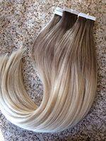 ücretsiz saç tutkal toptan satış-Ombre # 6/613 16-24 inç Tutkal Cilt Atkı PU Bant İnsan Saç Uzantıları Brezilyalı REMY Saç Ücretsiz Nakliye Abd'ye