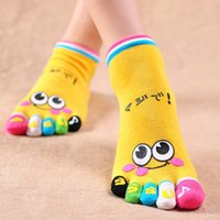 Wholesale Smile Trainer - Wholesale-Hot Selling Fashion Candy Colour Lady Womens Girls Smile Five Fingers Trainer Toe Ankle Sport Socks