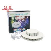 Wholesale Dj Lights Sound Activated - 11.11 Shopping Festival UFO Portable Laser Stage Lights RGB 48 Leds Sound Activated Sunflower Led Lighting for KTV DJ Party Wedding