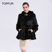 Wholesale Mink Skin Coat - Wholesale-TOPFUR New Design Fashion Women Natural Mink Fur Coat Whole Skin Plus Size Warm Outerwear Real Mink Coat With Hooded BF-C0051