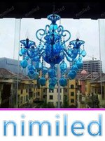 Wholesale Purple Halogen Lights - nimi1124 Blue Purple Chandelier Crystal Lights Bar Cafe KTV Light Hotel Villas Living Room Glass Bubble Candle Pendant Lamps Lighting