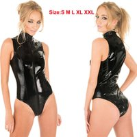Plus Size Sexy Porno Kleidung Latex Catsuit Crotchless Bodysuit Tanga Trikots für Frauen Wet Look Sleeveless Dessous