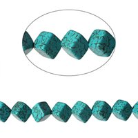 Wholesale Labradorite Beads 8mm - Turquoise manmade Loose Beads Square Malachite green Crack About 8mm x 8mm,Hole:1.5mm,41.6cm,1 Strand(About 40 PCs) 2016 new