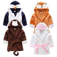 Wholesale Christmas Hooded Towels - 2016 Baby Flannel Bathrobe Pajamas Cartoon Fox Monkey penguin Bath Beach Blankets Towels Autumn Winter Hooded Warm Sleep Robes free shipping