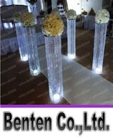 Wholesale Crystal Lead Road - Round metal imitation crystal beads Rome column wedding props road simulation flowerpot with LED lamp LLFA11