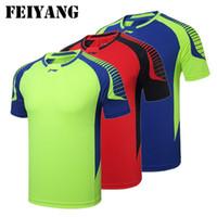 новый бадминтон оптовых-Li-Ning футболка Мужчины Женщины настольный теннис трикотажные изделия, 2017 новый быстрый сухой дышащий Li Ning бадминтон рубашки красный синий зеленый M-4XL бесплатная доставка LH49
