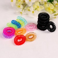 Wholesale Wear Ring - Children Candy Colored Telephone Line Elastic Hair Bands Hair ties Hair ring hair wear Hair Accessories Transparent color Hairbands B001