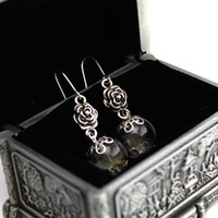 Wholesale Korean Chandelier Earrings - 2017 Korean version of the high-end forest system handmade dry flower glass ball earrings dandelion contract small fresh earrings
