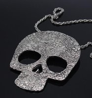 Wholesale Sugar Skull Charms - Gothic flower Skull Necklace Vintage Antique Silver Sugar Skull Pendant Necklace Charms Long Chain Necklace Witch Pagan Goth Antique