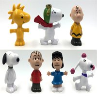 Wholesale Peanuts Christmas Figures - 7PCS LOT Mini Q Version The Peanuts Movie Charlie Brown Fifi Linus PVC Action Figure Collection Toy Doll For Kids Christmas Gift MY370