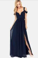 lüks artı boyut maxi elbiseler toptan satış-Bohemia Elbiseler kadın Yunan tarzı Uzun Zarif Şifon Kıvrımlar Derin V Yaka Lüks Uzun Maxi Elbise Gelinlik Modelleri Artı Boyutu Gelinlik Modelleri