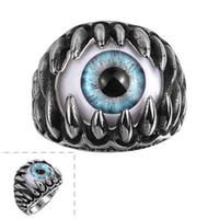 ejderha göz halkaları toptan satış-Vintage Punk Titanyum Çelik Yüzük Gotik Ejderha Pençesi Evil Göz Charms Bildirimi Takı Paslanmaz Çelik erkek Yüzükler