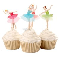 Wholesale Beautiful Birthday Cards Free - Beautiful Ballet Girl Cupcake Wrappers Decorating Inserted Card Stands For Birthday and Xmas Decoration Supplies free shipping