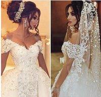 Wholesale Detachable Beaded Bridal Train - Vintage Wedding Dresses 2017 Lace Overskirts Wedding Gowns 2016 3D-Applique Beaded Tulle Portrait Bridal Dress With Detachable Train Arabic