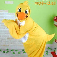 Wholesale Adult Duck Pajamas - Wholesale-One Piece Animal Yellow Duck Cosplay Pajamas All In One Adult Onesie Halloween Costumes for Women men Christmas Party Sleepwear