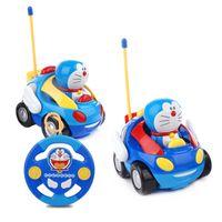 Wholesale Cartoon Cars Musical Toys - Wholesale- Dibang New RC Car lovely Doraemon Anime Cartoon Toys Action Figure Musical Light Car Toy ModelDoll Cat figure Safe Toys