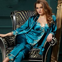 plus größe polyester-pyjama großhandel-Frühlings-Frauen-Spitze-Silk Fleck-Pyjamas stellt Pyjamas PJS Sleepwear Brautjunfer Robes Plus Size ein