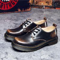 sapatos punk oxford venda por atacado-Mulheres Homens Lace Up Martin Botas Botas de Combate Do Punk Ankle Boots oxfords sapatos de couro genuíno retro ankle boots para as mulheres