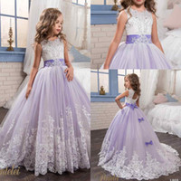 Wholesale garden wedding flower girl dresses - 2017 Petelei Cute White and Purple First Communion Dress For Girls Ball Gown Jewel Lace Flower Garden Wedding Puffy Flower Girl Dresses