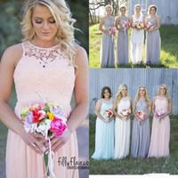 vestido de maternidade rosa cinza venda por atacado-2019 Cinza Azul Rosa Marfim País Estilo Barato Dama de Honra Vestidos de Verão Sem Encosto Rendas Maternidade Chiffon Long Beach Empregada da Honer Vestidos