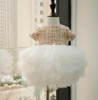 Wholesale Soft Fluffy Tutu - Spring Autumn New Baby Girl Party Dresses Short Sleeve Woolen Fluffy Dress Soft Gauze Tiered Dress Children Clothing E10101