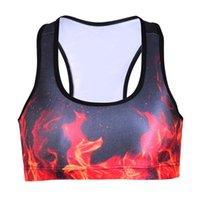 Wholesale Burns Vest - Exercise Yoga Bras Bodybuilding Push Up Sports Vest Running Quick Dry Slim Sleeveless Garment Breathable Burning Flame Tank Tops Lady LNSsb