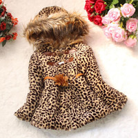 Wholesale Girls Faux Leopard Coat - Winter Leopard Coat For Girls Flowers Hooded Jackets Clothing Fashion Children Long Sleeve Faux Fur Parkas Outwear Clothes Costume