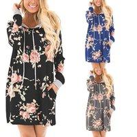 bayanlar xl hoodie toptan satış-2017 Sonbahar Kış Moda Bayan Hoodies Bayanlar Uzun Kollu Kapşonlu Bayanlar Çiçek Baskılı Elbise Tops 3 Renkler 4 Boyutu