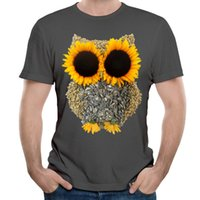 Wholesale Hoot Shirts - Whimsical design short sleeve t-shirt for boys men fashion carbon crew neck tees summer youth style Hoot Day Owl
