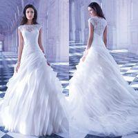 Wholesale Vintage Lace Demetrios Wedding Gown - Modern Wedding Dresses Lace Organza Bridal Gowns Sleeveless Arabic Vestidos De Novia Custom Made Demetrios Bride Dress