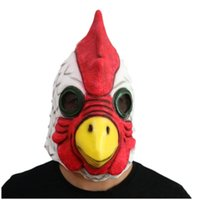 Wholesale Rooster Chicken Costume - Top Grade Party Chicken Masks Head Full Face Mask Halloween Party Prop Carnival Latex Rubber Chicken Head Mask Party Rooster Mask