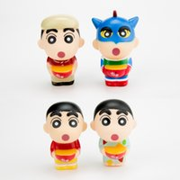 Wholesale Shin Chan Action Figure - Free Shipping Anime Cartoon Crayon Shin chan Keychains PVC Action Figure Collection Model Toys 4pcs set