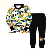 Wholesale Minion Pajamas For Girls - 6 sets lot New Despicable Me Minion Pajamas for Kids Spring Autumn Baby Boys Cotton Girls Childrens Sleepwear Pyjamas Pijamas Sets