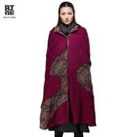 Wholesale original fur coat - Outline Brand Winter Woolen Coat Irregular Long Wool Women Down Plus Coat Original Design Coat Wool Fur Hooded Jacket L144Y027