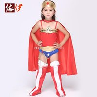 Wholesale Wholesale Capes For Women - Wonder Woman children dress kids halloween costumes for girls party cosplay halloween baby Superhero Costume with Superhero Cape DHL C1401