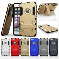 Wholesale Iphon5 Cases - Iron Man Armor phone Cases 2 in 1 Support Phone protection shell For iphon5 5S 6 6PLUS 6S 6S plus for samsung Shockprooof Dirt Proof