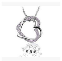 Wholesale Double Heart Alloy Crystal Necklace - Korean version hot models Full drill double peach heart necklace leash wound your heart wholesale women jewelry
