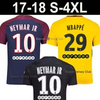 Wholesale Soccer Jerseys Paris - 17 18 NEYMAR JR THIRD BLACK PSg soccer jerseys MBAPPE VERRATTI CAVANI DI MARIA 2018 Maillot De Foot PARIs Football man shirt