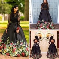 Wholesale Long Line Skirt Pattern - Open Back Two Piece Floral Print Graduation Homecoming Dress Long Sleeves Lace Prom Gown Satin A-line Flower Pattern Skirt Lewande 50599